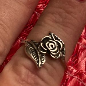 Antique Washed Silver Roses Ring Floral  Size 7+-